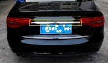 Экстерьера автомобиля Нержавеющаясталь цельнокроеное платье хвост загрузки центр задний багажник ворота Крышка Накладка для Audi A4 B8 2013 2014 2015