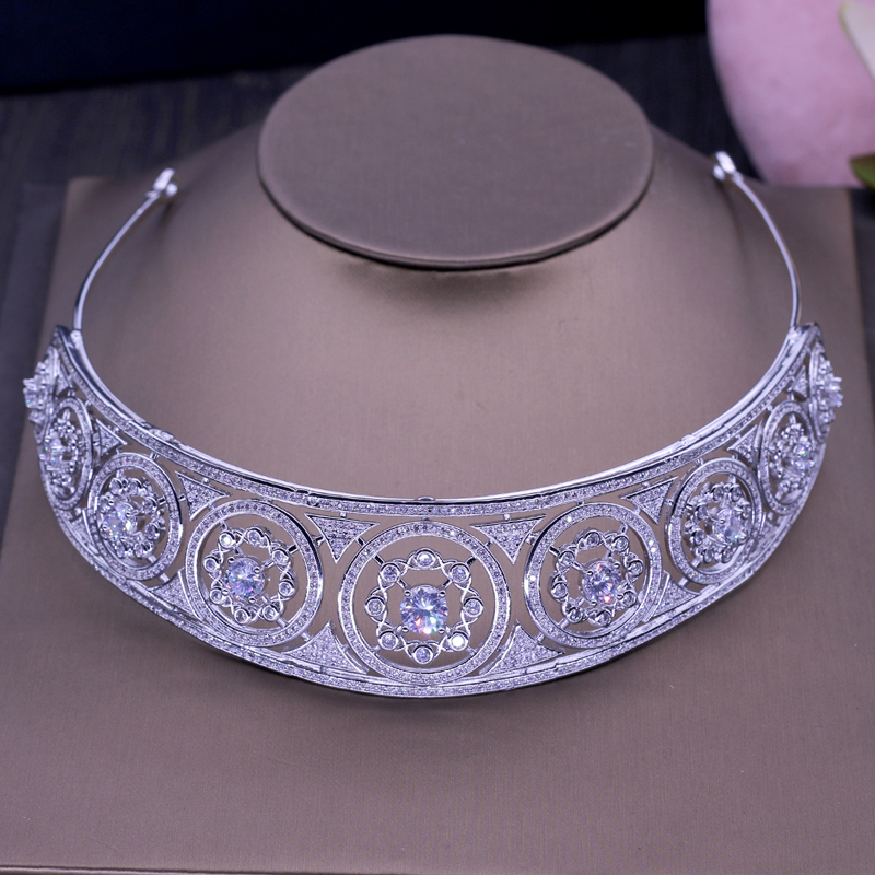 Brilliant Crystal Women Tiaras Hairband Women Bride Crown Fashion Jewelry White Gold Color Tiaras Hair Accessories H-025 03 red gold bride wedding hair tiaras ancient chinese empress hat bride hair piece