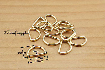 d ring d-rings purse ring Webbing Strapping light gold 10 mm 3/8 inch 40pcs P54