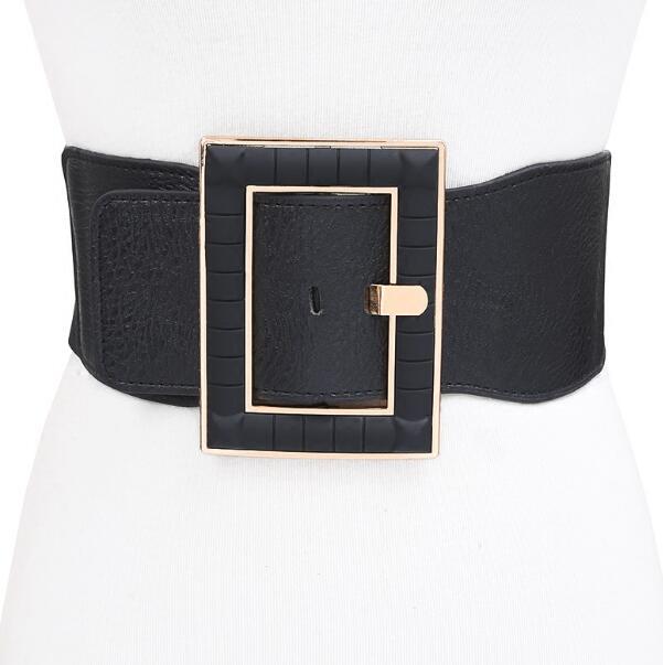 Women's Runway Fashion Elastic Buckle Cummerbunds Female Dress Coat Corsets Waistband Belts Decoration Wide Belt R1178