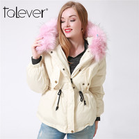Winter Women Thick Parka White Down Jacket Pink Faux Fur Hooded Pocket Flamingo Casual Ladies Short