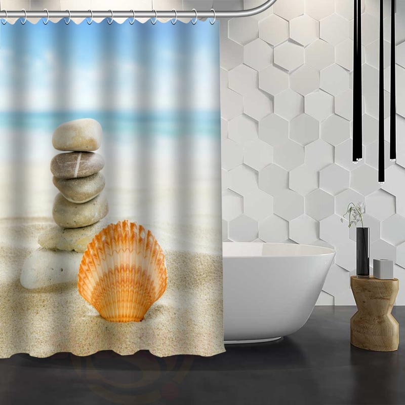 Starfish And Seashells Shower Curtain Pattern Customized Shower Curtain Bathroom Fabric For Bathroom Decor Size Hsq32604d