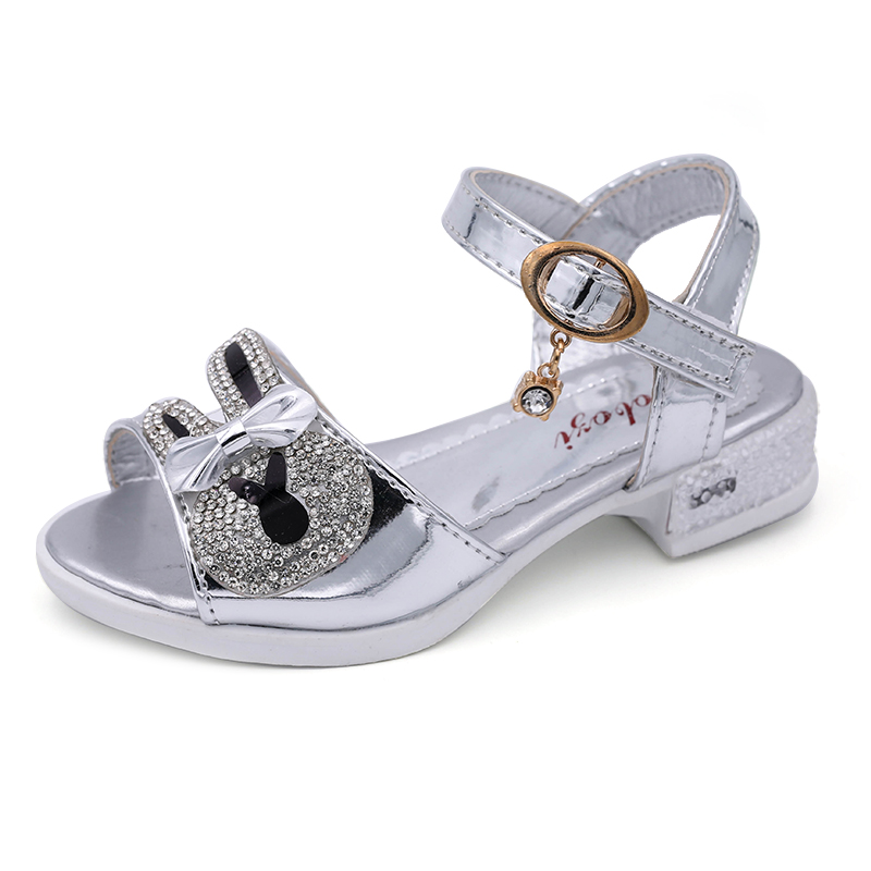 Gilrs Rhinestone sandals with Patent Leather PU, Bunny Ear and Butterfly Knot ,princess fashion casual shoes, 3 colors