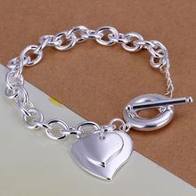 Fina del verano del estilo de plata chapada pulsera 925-sterling-silver joyería bijouterie 2 heart chain pulseras para mujeres hombres SB284