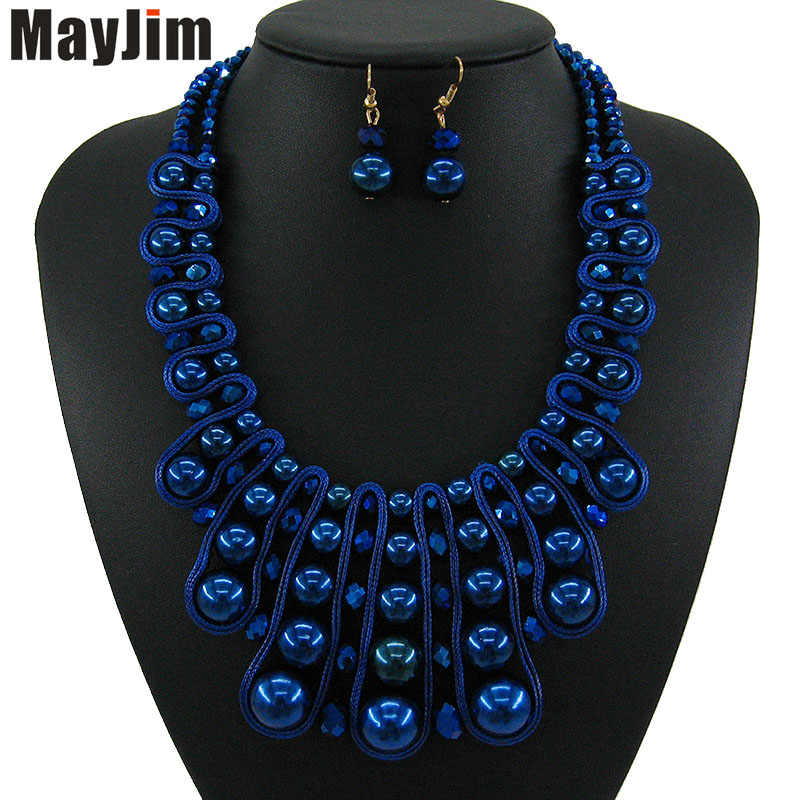 Statement necklace Fashion blue pearl jewelry sets gold chain crystal dubai bridal jewelry sets Vintage bead Bijoux Accessories