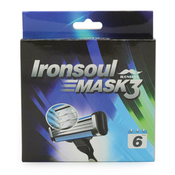 Brand New 6pcs/lot Ironsoul MASK3 3 layer razor blades shaving blades for men face fusion power lame rasoir Standard RU & Eu US
