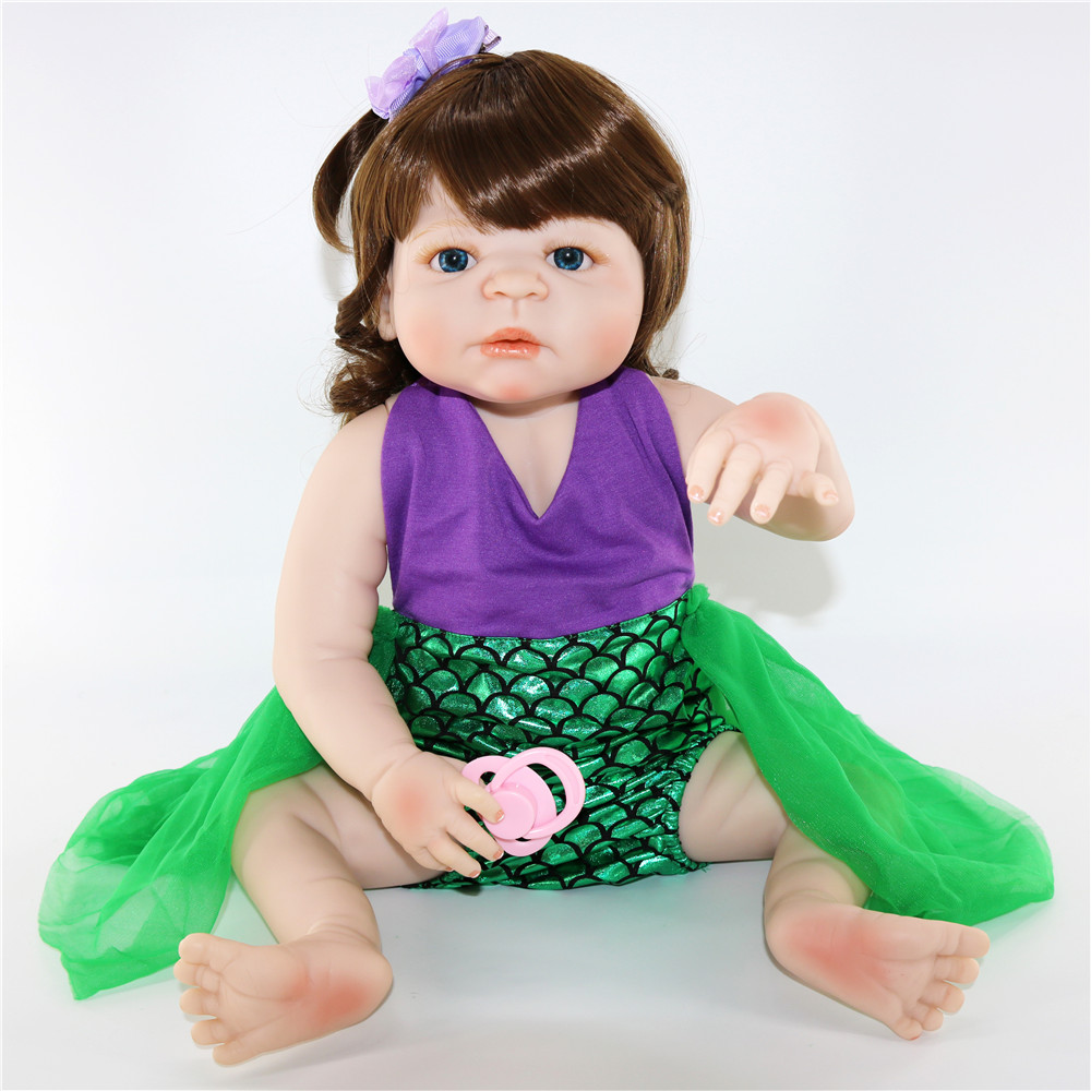Reborn baby silicone dolls 2357cm curly hair mermaid girl doll bebe real reborn bonecas child gift toy doll rebirth doll aliveReborn baby silicone dolls 2357cm curly hair mermaid girl doll bebe real reborn bonecas child gift toy doll rebirth doll alive
