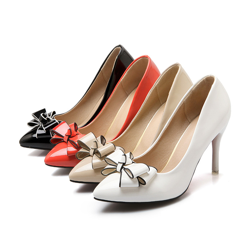 Plus Big Size Bow High Heels Women Pumps Bowknot Patent Leather Thin Stiletto Pointed Toe Office Party Wedding Red Ladies Shoes bowknot pointed toe women pumps flock leather woman thin high heels wedding shoes 2017 new fashion shoes plus size 41 42