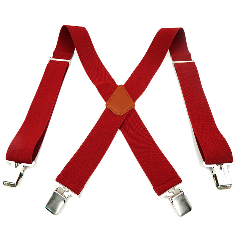 Man's Suspenders 4 Clips Leather Braces 2019 Hot Sale Strong 4clasps Casual Suspensorio Trousers Strap 5*120cm Gift For Father