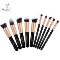 Free Shipping BESTOPE Set Of 10pcs Makeup Brushes Set Professional Foundation Blending Eyeliner Shadow Powder Cosmetics