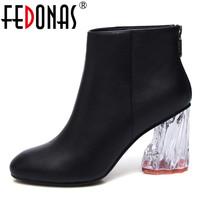 FEDONAS Brand Women Ankle Boots Genuine Leather Autumn Winter Zipper Martin  Shoes Crystal High Heels Wedding b35bba7174b3