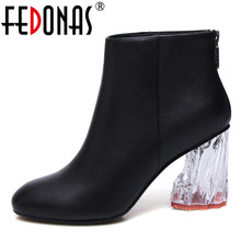 FEDONAS Brand Women Ankle Boots Genuine Leather Autumn Winter Zipper Martin Shoes Crystal High Heels Wedding Party Shoes Woman