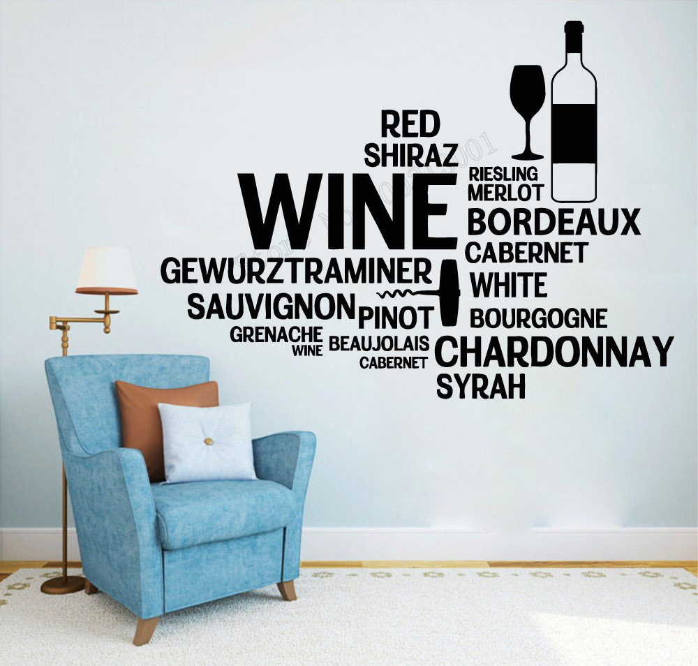 Art Wall Sticker Wine Wall Decor Quotes Decoration Vinyl Art Removeable Poster Restaurant Bar Mural Beautiful Sticker LY107 in Wall Stickers from Home Garden