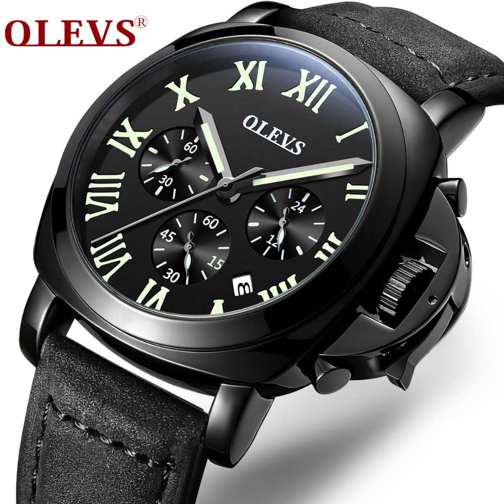 OLEVS Quartz Men Watches Top Brand Luxury Male Military Wrist Watches Leather Sports Calendar Watch Waterproof Relogio Masculino sports military quartz watch men watches top brand luxury famous male clock wrist watch calendar waterproof watches relogio