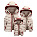 Family Matching Outfits 2016 Winter down coat jacket 4xl Mother Father Daughter Son Vest Thicken Removable Hoody