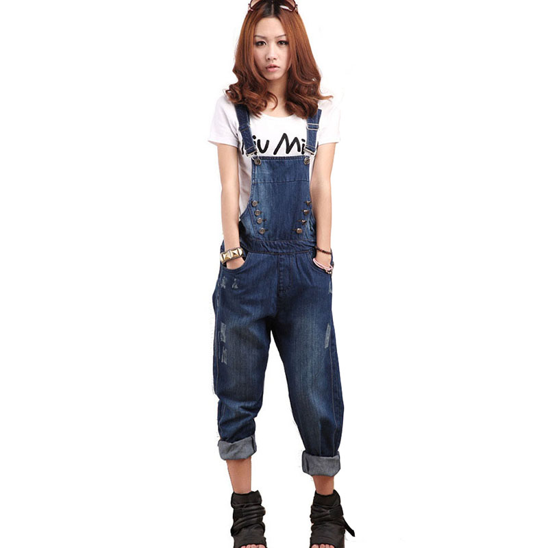 2017 autumn women cotton denim overalls fashion all match bleached ripped scratched loose Jeans with button and zippers HM722