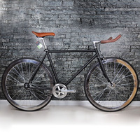 Road Bicycle newest Design Fixed Gear BikeDiy Complete Road Bike, Retro black frame plating frameType 700C bike 52cm frame