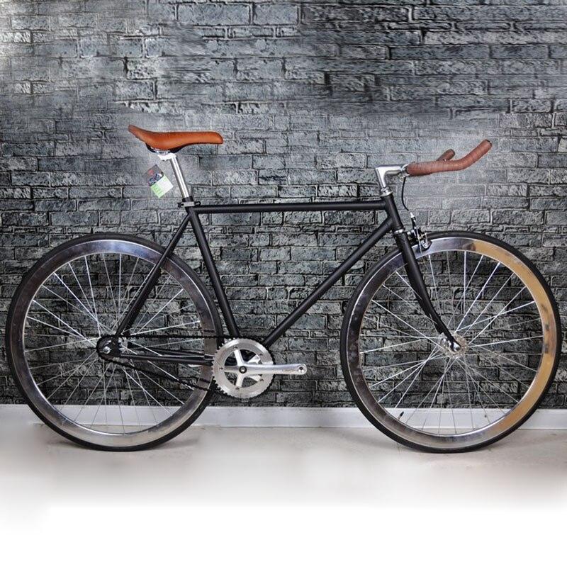 Route Vélo nouvelle Conception Pignon Fixe BikeDiy Complète Vélo De Route, rétro noir cadre placage trame standard 700C vélo 52 cm cadre