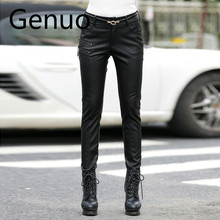 Spring Autumn Casual Leather Pants Lady Hot Slim PU Leather Stylish Zipper Fashion Pencil Skinny Trousers For Woman With Belt stylish women s satchel with pu leather and zipper design