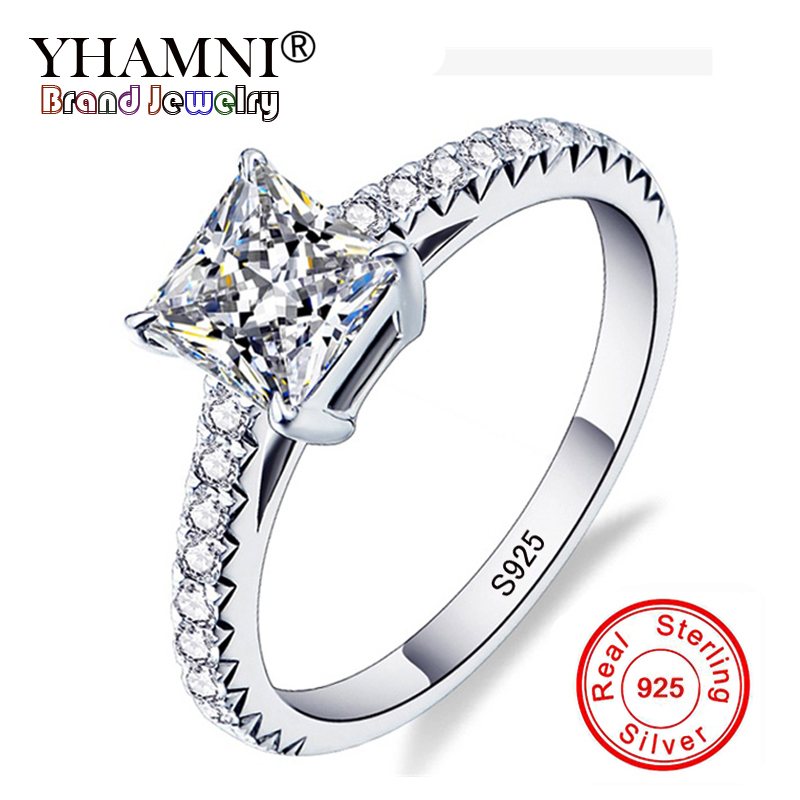 YHAMNI Original Real Pure Natural 925 Silver Wedding Rings For Women Luxury SONA CZ Zircon Engagement Rings Brand Jewelry R188