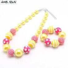 MHS. SUN Kids, ожерелье, браслет из бусин, модный, желтый, красный, бусины из жевательной резинки, ювелирный набор для детей/девочек, подарок ручной работы, Новинка