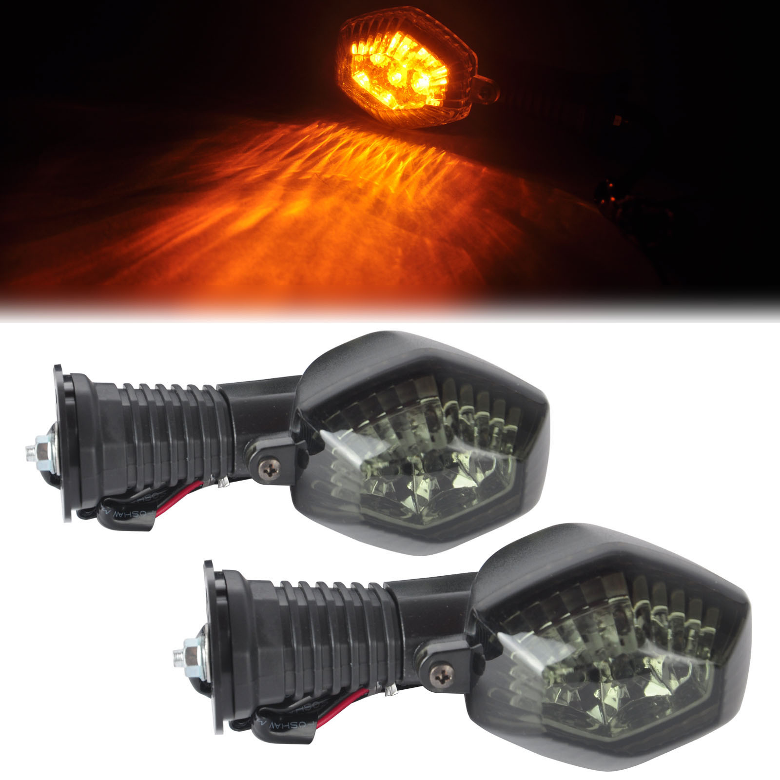 Mayitr 1 Pair Motorcycle Smoke Lens LED Rear Turn Signal Light Amber Lamp for Suzuki DL650 DL1000 V-Strom GSX 650F 1250 FA