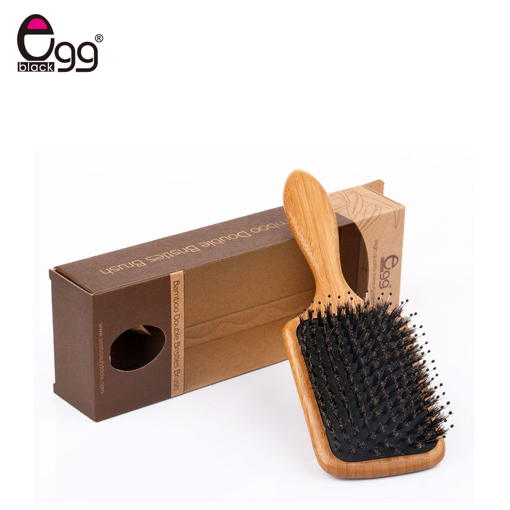 Boar Bristle Hair Brushes Natural Bamboo Cushion Massage Anti Static Paddle Comb Tool anti static hairbrush massage comb hair scalp paddle brush natural boar bristle beech wooden handle hair brush styling tool