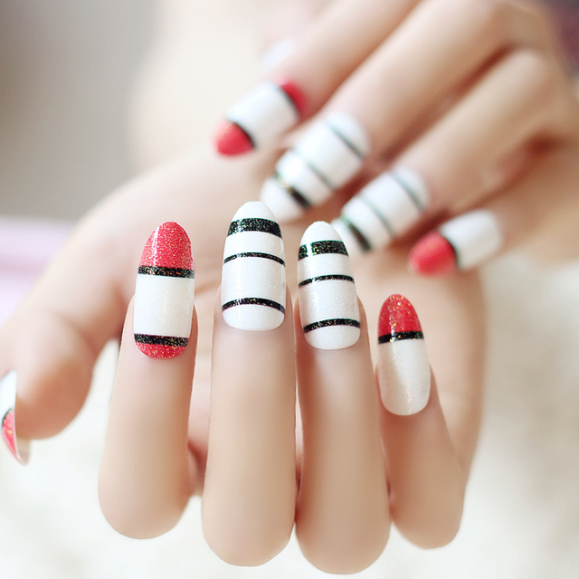 Pre Glued Nails Nail Art 24 Pcs False Nail With Black Red White