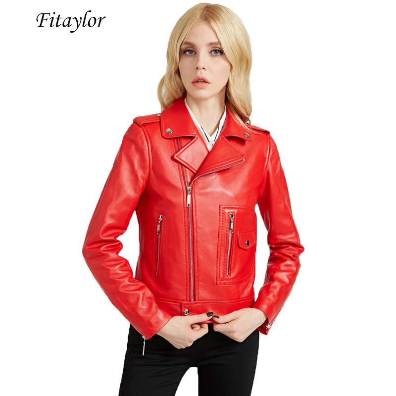Fitaylor Women Autumn Pu   Leather   Jacket Short Red Coat Faux Soft   Leather   Turn Down Collar Motorcycle Epaulet Zipper Outerwear