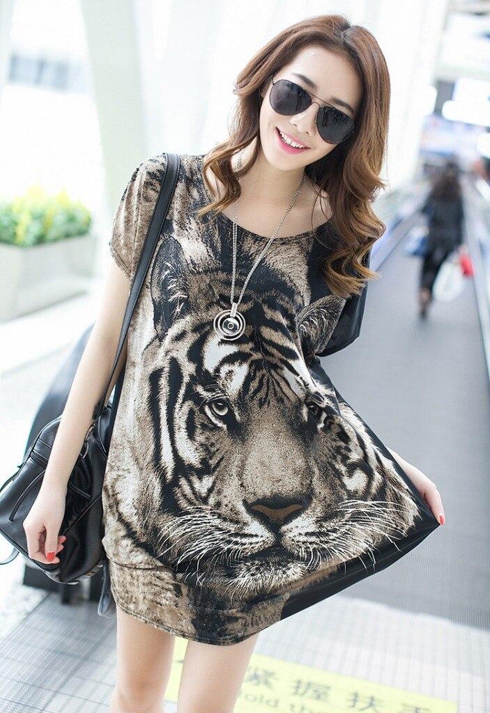 2015 nuevas mujeres del verano suelta Camisetas largas delgada cabeza de tigre d