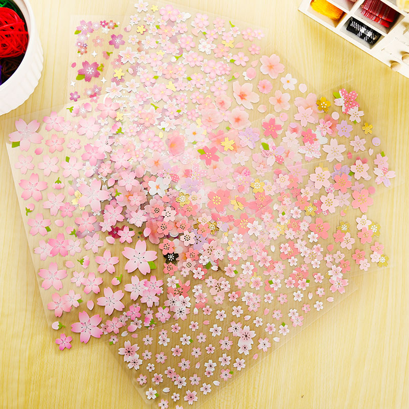 1 X Romantic Sakura Adhesive Paper Sticker Decorative DIY Scrapbooking Sticker Paste Kawaii Stationery