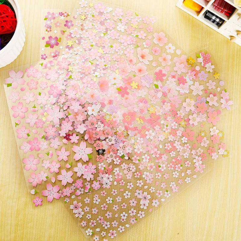1 x romantic sakura adhesive paper sticker decorative DIY scrapbooking sticker Paste kawaii stationery