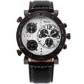 Army 3 time zone multifunction oulm brand leather strap japan quartz movement men sports wrist watch