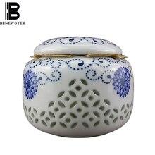 Китайский керамический голубой и белый фарфоровый полый сотовой чай Caddy еда герметичный ящик для хранения конфет чайный сервиз аксессуары