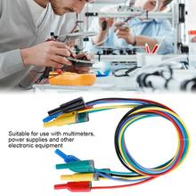 цена на 5pcs/Lot P1050-1 Durable 4mm Banana Plug Cable Safety Soft Silicone Wire Stack Test Lead 14AWG for Multimeter Power Cables