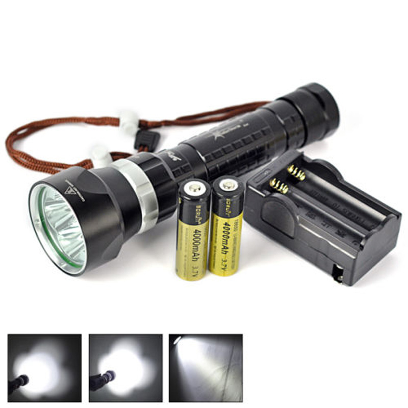 Underwater 100M 8000LM 4x XM-L2 LED Scuba Diving Flashlight Torch+18650+Charger 100m underwater diving flashlight led scuba flashlights light torch diver cree xm l2 use 18650 or 26650 rechargeable batteries