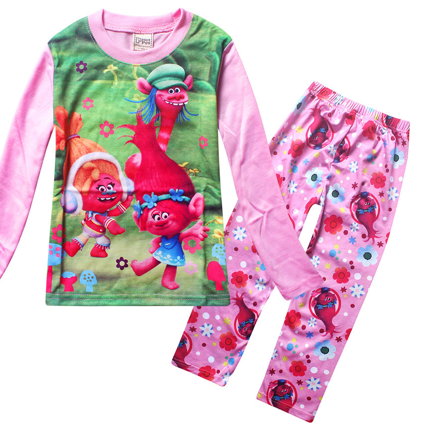 New TROLLS Girls Pajama Sets Spring Cartoon Cotton Clothing Set For Girls Long Sleeve Shirt + Pants 2 Pieces Suit Kids Clothing all over cartoon print pajama set