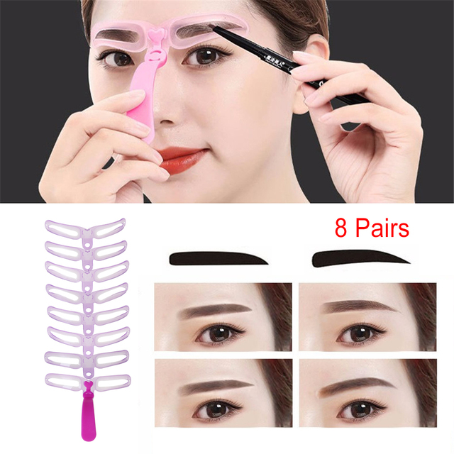 8Pairs Women Eyebrow Stencil Shaping Template Eyebrow Brow Grooming Stencil Professional Flexible Makeup Eye Brow Drawing Guide 1