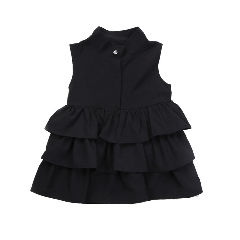 Newborn Kid Baby Girls Dress Sleeveless Turtleneck Solid Cute Ruffle Party Pageant Tutu Dresses Clothes Girl Clothing Summer