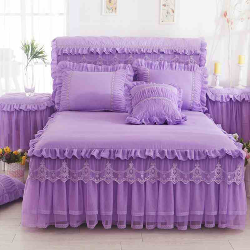 Korea Lace Ruffle Bedspread Bed Skirt Pillowcases 1/3pc Solid Color Mattress Cover Princess bedding Fitted sheet King Queen size