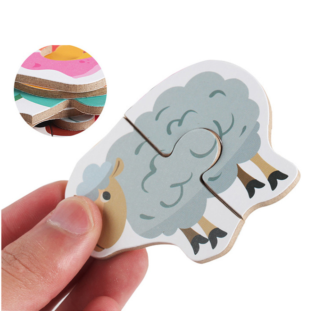 2019 High Quality Kids Baby Wooden Wood Animal Cognition Puzzle Fruit Learning Educational Montessori Toy  7.8