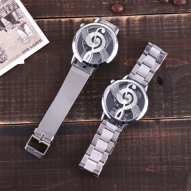 Vansvar Brand Musical Note Fashion Luxury Hollow Stainless-Steel Silver Quartz Watches 3