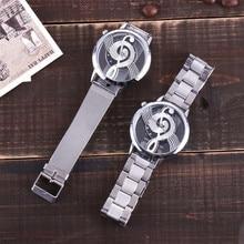 New Vansvar Brand Fashion Hollow Music Note Notation Watch Stainless Steel Quartz Wristwatch For Men Women Silver Mesh Watches