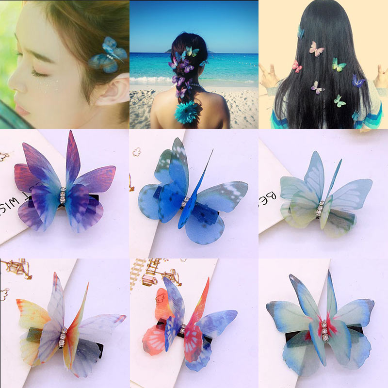 Fashion butterfly design hairpin colorful cartoon hair clip for little girls hairgrips barrettes wedding party hair accessories