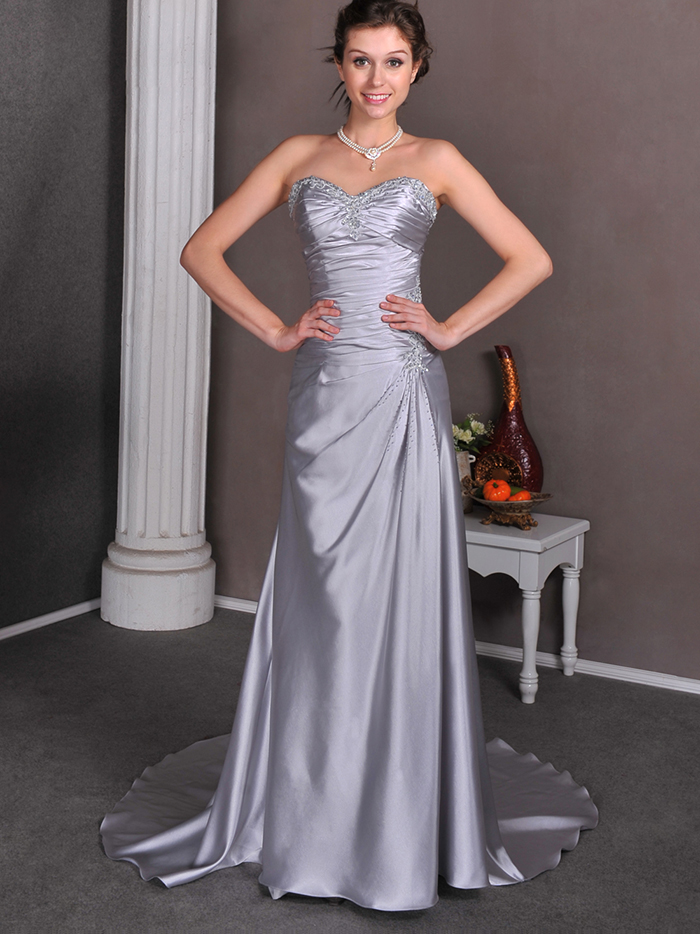 Silver Grey Long Informal Reception Evening Dresses Strapless Beaded ...