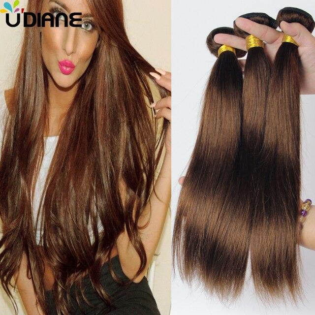 Malaysian Remy Straight Hair Weave 4 Bundles Light Brown Human Hair