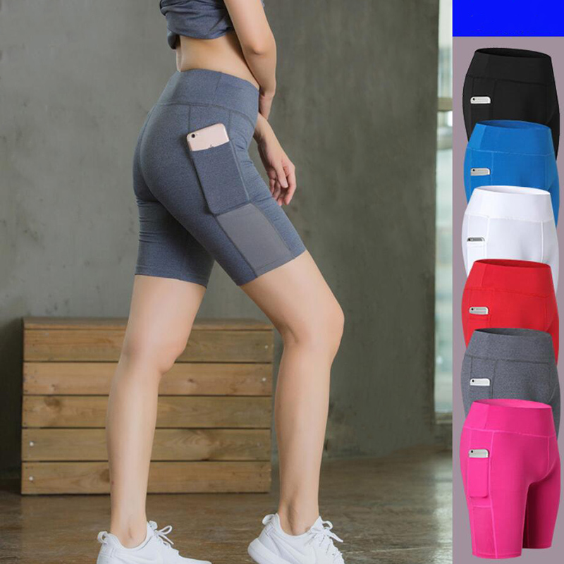 Yoga Side Pockets No Trace Solid Color Elastic Tight-Fitting Quick-Drying Wicking Five Pants Fitness Shorts Free Shipping