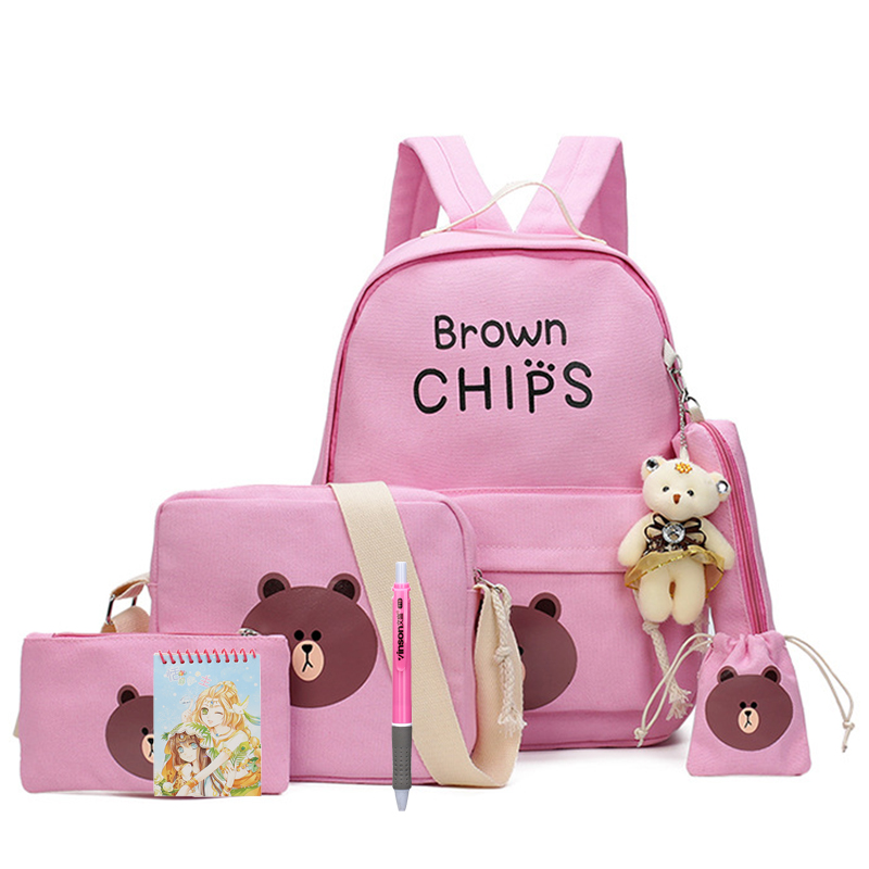 8 Pcs/set Cute Brown Bear School Bag Multifunctional Backpack Kids Canvas Shoulder Bags Boys Girls Travel Children Schoolbags
