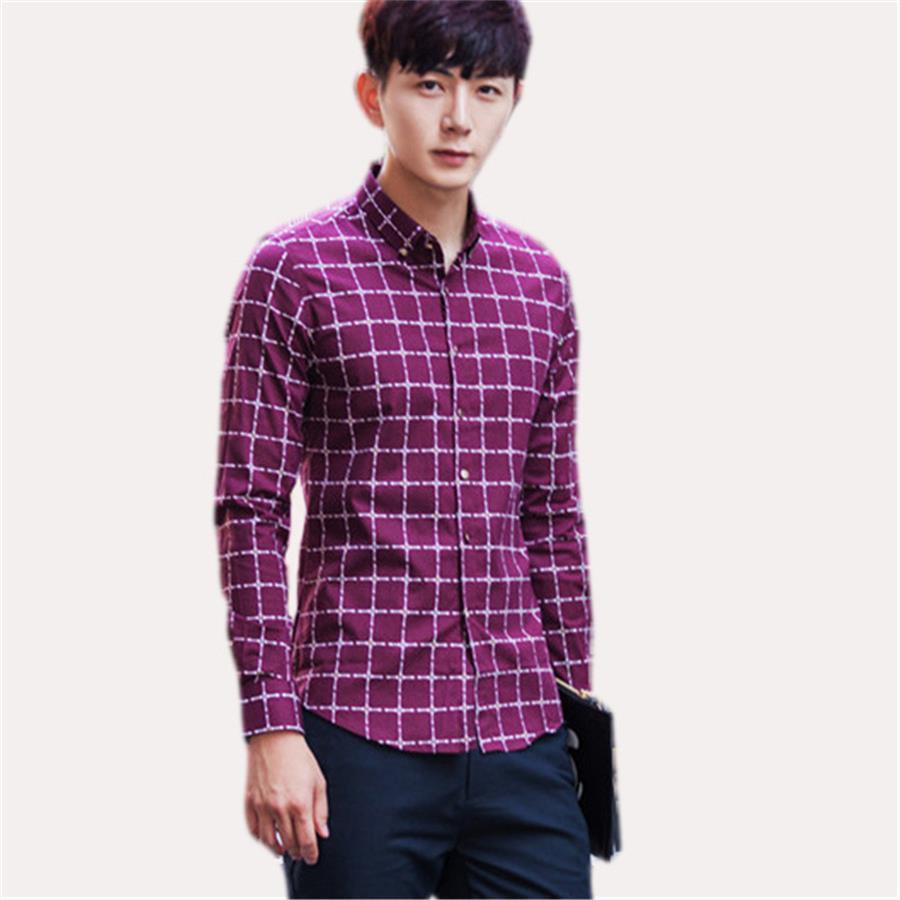 Men Shirt Lattice Design Korean Style Casual Mens Plaid Shirts Man
