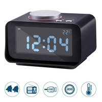 Kids Digital Alarm Clock With FM Radio LCD Display Snooze Electronic Desk Table Bedside Clock Date Time Night Light Thermometer